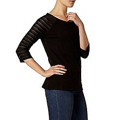 Dorothy Perkins - Black textured sleeve top