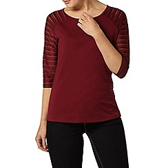 Dorothy Perkins - Cranberry textured sleeve top