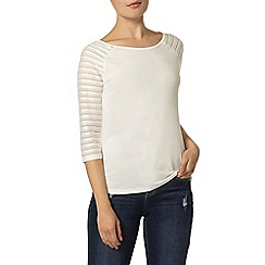 Dorothy Perkins - Ivory textured sleeve top
