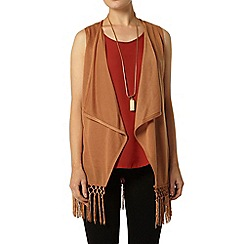 Dorothy Perkins - Tan sleeveless fringe cardigan