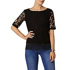 Dorothy Perkins - Black lace fringe top