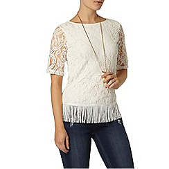 Dorothy Perkins - Ivory lace fringe top
