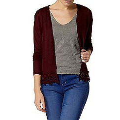 Dorothy Perkins - Raisin lace trim cardigan