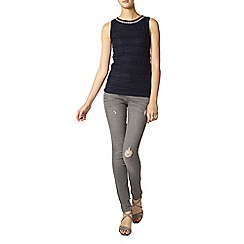 Dorothy Perkins - Tall navy bling lace shell top
