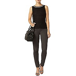 Dorothy Perkins - Black frill bling lace shell top