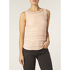 Dorothy Perkins - Pink frill lace bling shell top
