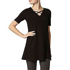 Dorothy Perkins - Black cross strap tunic top