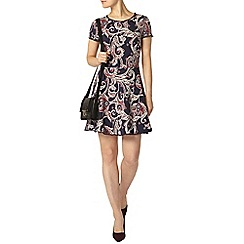 Dorothy Perkins - Navy paisley pom pom trim dress