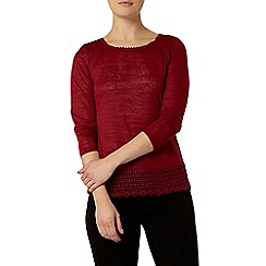 Dorothy Perkins - Cranberry lace jersey knit top