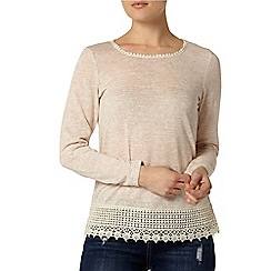 Dorothy Perkins - Beige lace trim jersey knit