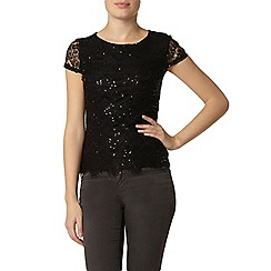 Dorothy Perkins - Black eyelash sequin t-shirt