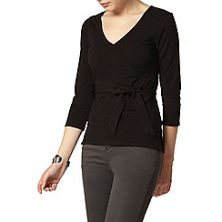 Dorothy Perkins - Black 1/2 sleeve wrap top
