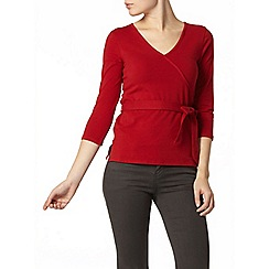 Dorothy Perkins - Red 1/2 sleeve wrap top
