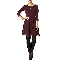 Dorothy Perkins - Burgundy geo lace trim dress