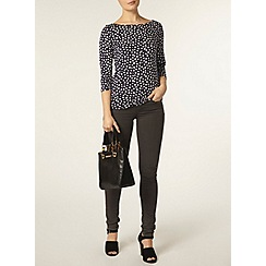 Dorothy Perkins - Navy spot 3/4 sleeve top