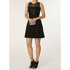 Dorothy Perkins - Black sequin and lace skater dress