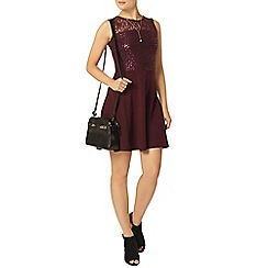 Dorothy Perkins - Wine sequin lace skater dress