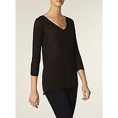 Dorothy Perkins - Tall black zip and lace top