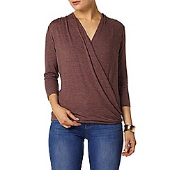 Dorothy Perkins - Berry 3/4 sleeve wrap top