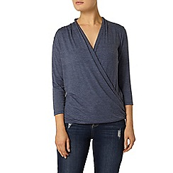 Dorothy Perkins - Blue 3/4 sleeve wrap top