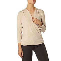 Dorothy Perkins - Oat 3/4 sleeve wrap top