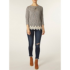 Dorothy Perkins - Metallic lace hem jersey knit top