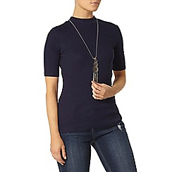 Dorothy Perkins - Navy rib mock neck top