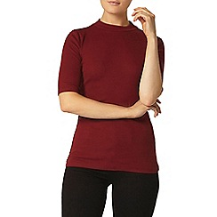 Dorothy Perkins - Cranberry rib mock neck top