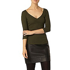 Dorothy Perkins - Green rib sweetheart top