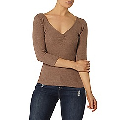 Dorothy Perkins - Coffee rib sweetheart top