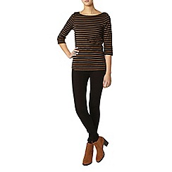 Dorothy Perkins - Tall black and tan 3/4 sleeve top