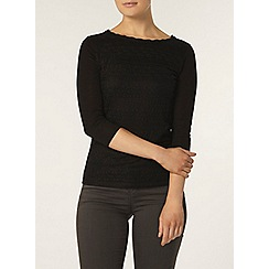 Dorothy Perkins - Black frill lace front top