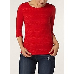 Dorothy Perkins - Red frill lace front top