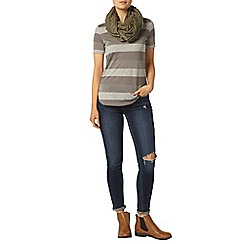 Dorothy Perkins - Charcoal metallic stripe t-shirt
