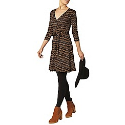 Dorothy Perkins - Black and tan chevron wrap dress