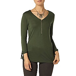Dorothy Perkins - Khaki zip front d-ring top