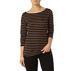 Dorothy Perkins - Tan stripe 3/4 sleeve top