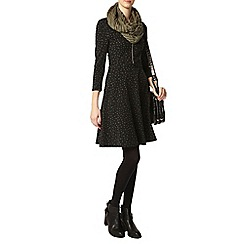 Dorothy Perkins - Tall black spot zip dress
