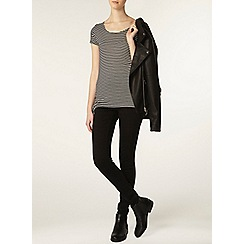 Dorothy Perkins - Tall black and ecru side tie t-shirt