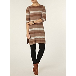 Dorothy Perkins - Coffee textured stripe tunic
