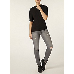 Dorothy Perkins - Black button mock neck top