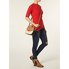 Dorothy Perkins - Red button mock neck top