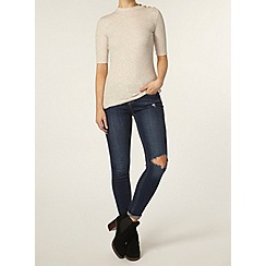 Dorothy Perkins - Oat button mock neck top