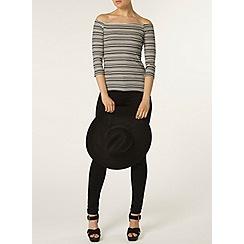 Dorothy Perkins - Stripe 3/4 sleeve bardot top