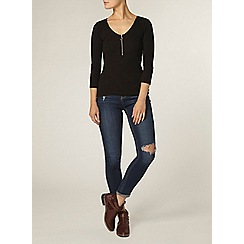 Dorothy Perkins - Black v neck zip top