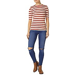 Dorothy Perkins - Oat and tomato button mock neck top