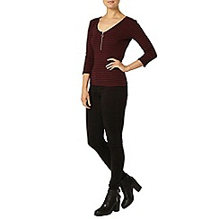 Dorothy Perkins - Black and cranberry zip rib t-shirt