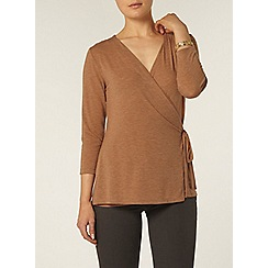 Dorothy Perkins - Toffee 3/4 sleeve wrap top