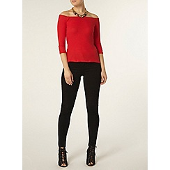 Dorothy Perkins - Red 3/4 sleeved rib bardot top