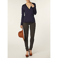 Dorothy Perkins - Navy long sleeved wrap top